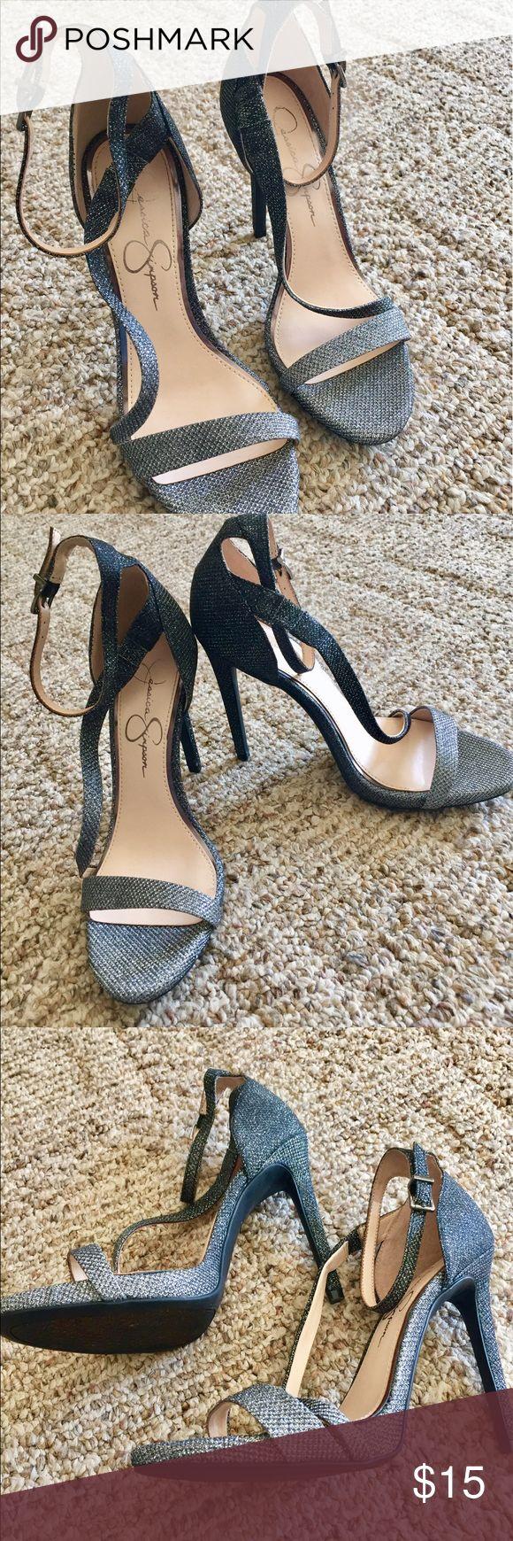 "Beautiful Jessica Simpson heels size8 m Beautiful high heels By Jessica Simpson in sparkly grey. High heels about 5"" size 8 Jessica Simpson Shoes"