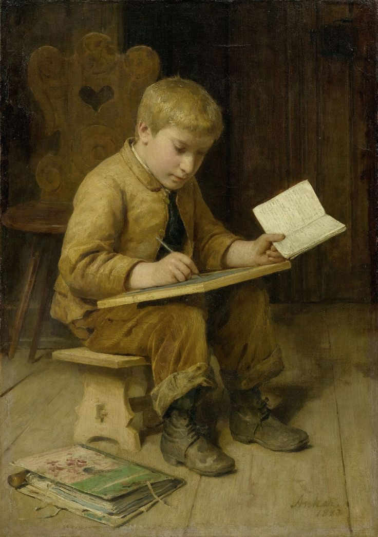 """Boy Writing"" (also known as ""Schreibender Knabe"") (1883), by Swiss artist - Albert Anker (1831-1910), Oil on canvas, 59 x 42.5 cm. (23.23 x 16.73 in.), Private collection."