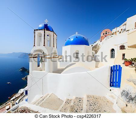 klassiek, griekse, stijl, kerk, Santorini, Griekenland - csp4226317
