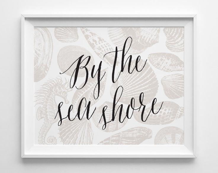 By the Seashore Decor, Neutral Shell Print, Beach Decor, Beach House Decor, Black Beige Sea Horse Art, She Sells Sea Shells By the Sea Shore by SweetPeonyPress on Etsy https://www.etsy.com/listing/197780910/by-the-seashore-decor-neutral-shell