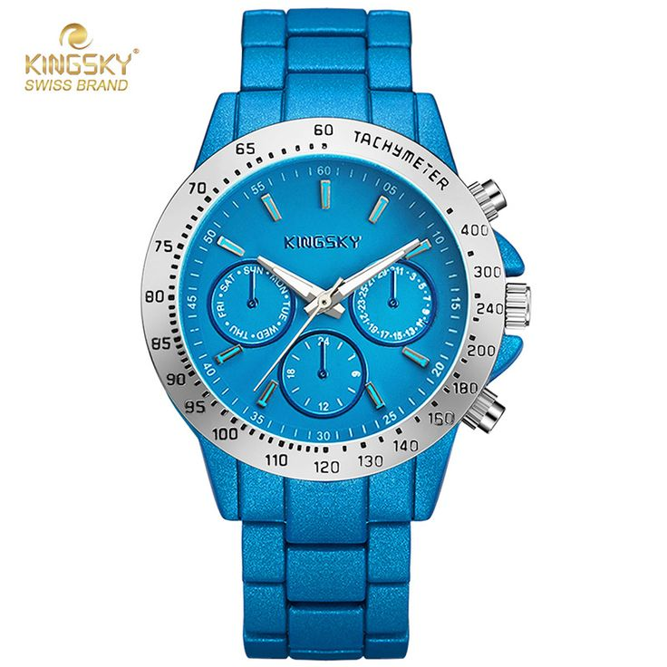 New Design Blue Mens Watch 3 Small Dials Alloy Band Quartz Watch Wristwatch Fashion Casual Watches For Men Brand Logo Kingsky-in Quartz Watches from Watches on Aliexpress.com | Alibaba Group