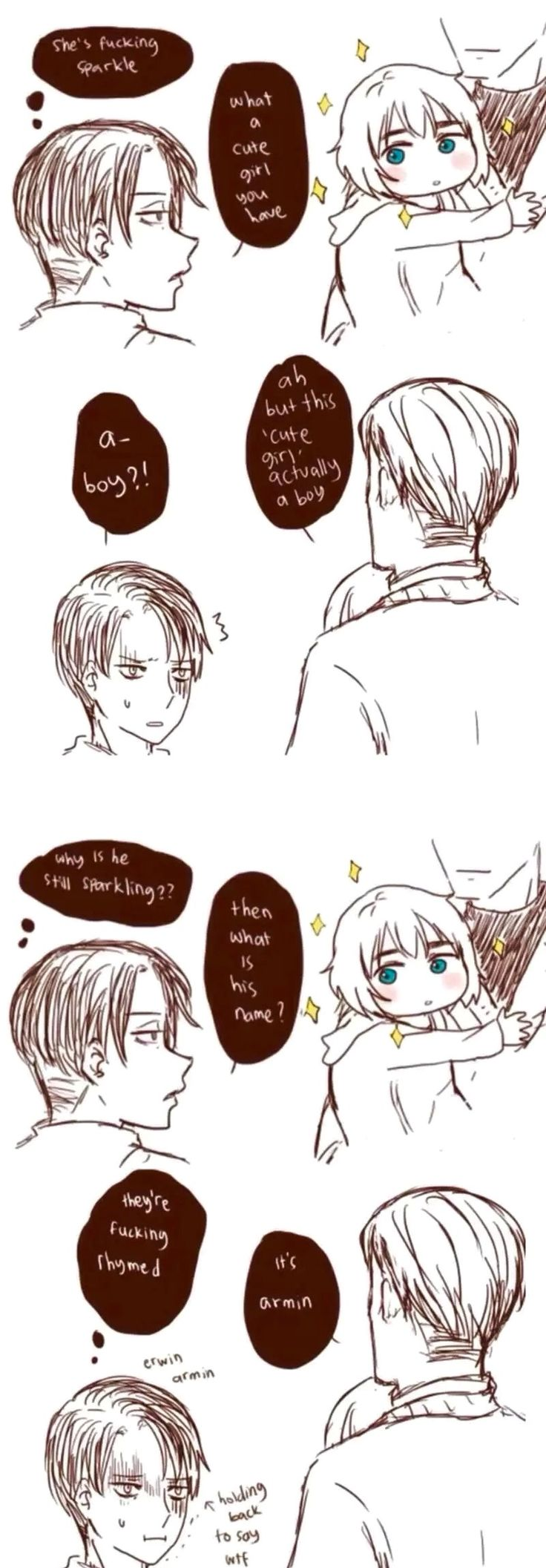 Erwin introduces Levi to his sparkling cute child Armin