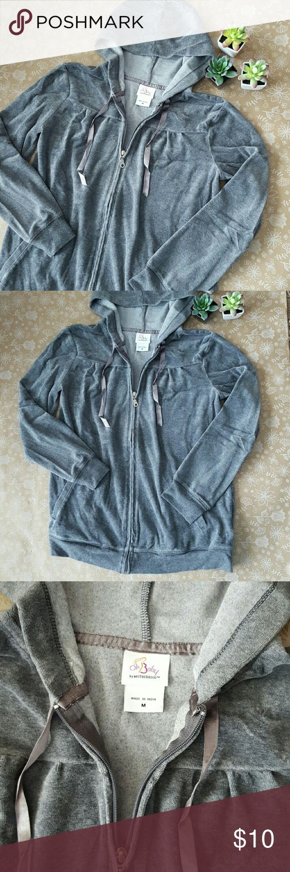 Maternity Zip Up Hoodie Velour Medium By Oh Baby by Motherhood. Excellent used condition!  I also have a black one listed! Very soft, long fit! Lightweight. Oh Baby by Motherhood Tops Sweatshirts & Hoodies