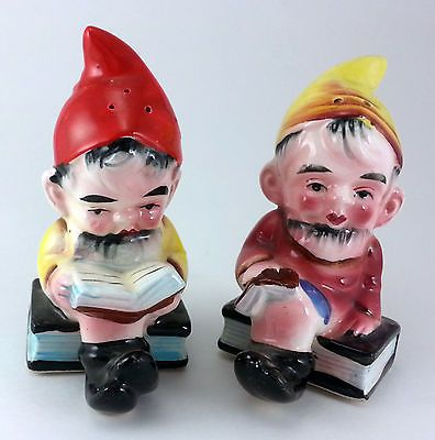 Vintage Japan Salt & Pepper Shakers Reading Elves Novelty Mid-Century Kitsch