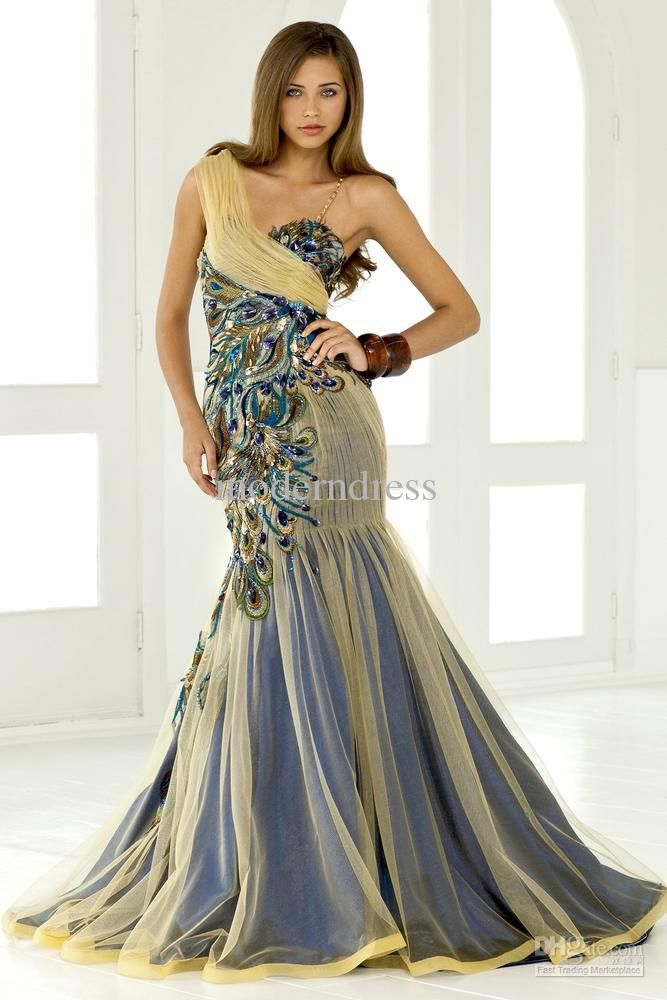 2011 One-shoulder A-line Sweep Gold Peacock feathers Fold Net Evening/Gowns Dresses L-389