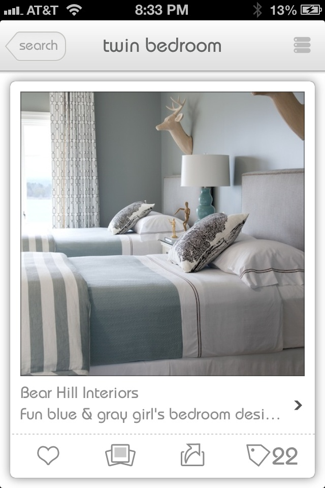 Love the linen on these beds. Soft greys, duck egg blue, white and chocolate. So gorgeous.