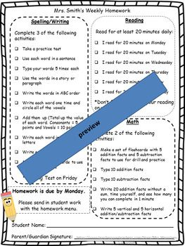 Your homework for the year is done! Use this menu template as your weekly homework. Send it home weekly with your spelling list! Includes meaningful, rigorous choices for Reading, Writing, Spelling, and Math! Edit to fit your class needs/skill level or just use the pdf version.