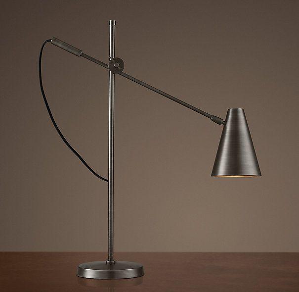 20th c torpedo task table lamp aged steel task - Restoration hardware lamps table ...