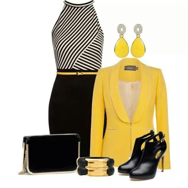Stylish, classy, yet professional. Loving this Yellow, Black and White outfit.