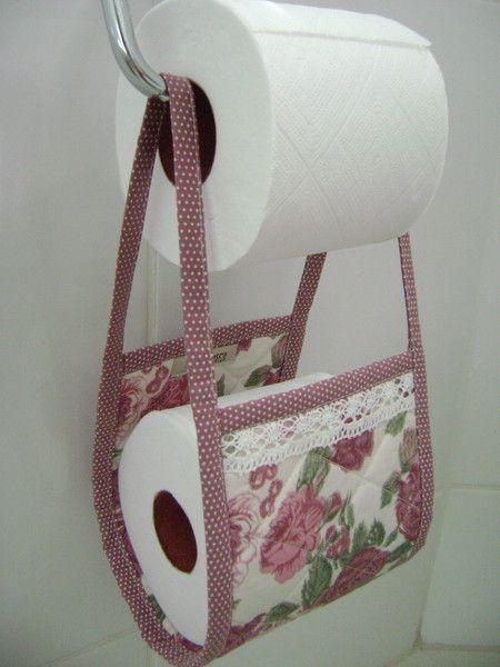 Porta Papel-higiênico Rosa - feito com a coleção 011 - Floral da Tecidos Fabricart: