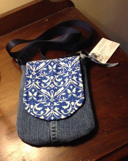 Up-cycled Denim Jeans  Handmade Pocket Purse -- crossbody style on Etsy, $20.00