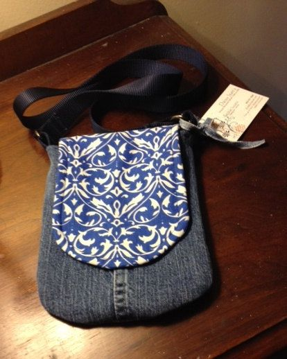 Up-cycled Denim Jeans  Handmade Pocket Purse -- crossbody style on Etsy, $20.00