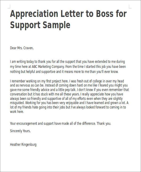 25+ unique Appreciation letter to boss ideas on Pinterest Diy - encouragement letter template