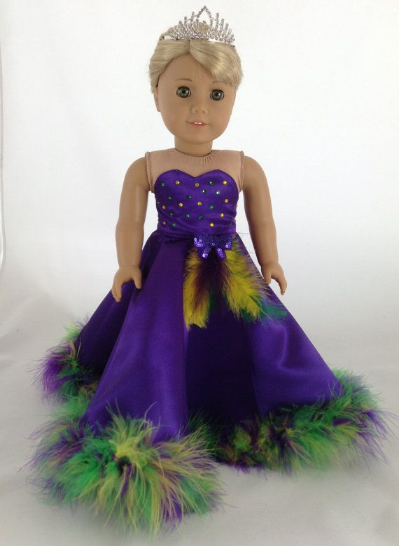 18T Holiday Wear Mardi Gras Gown Shoes and by MjsDollBoutique18T