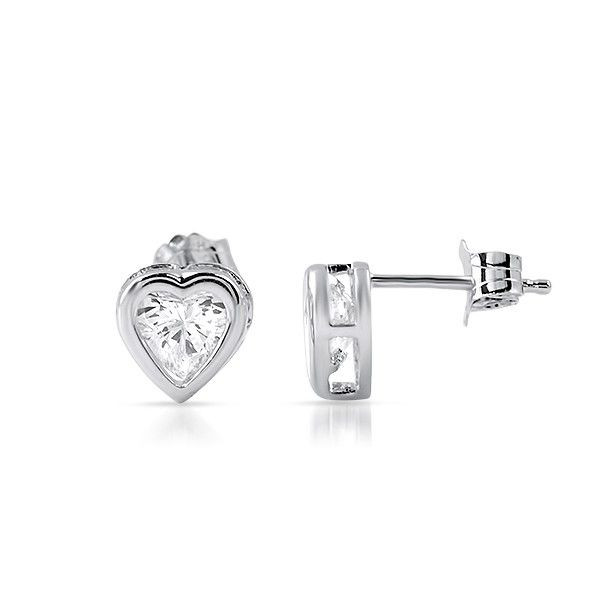 Tiny Heart CZ Earrings with bezel setting