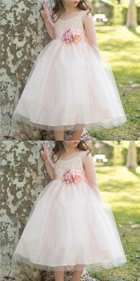 d5feb805e79e Regular Straps Cute A-Line Tulle Flower Girl Dresses With Hand-made Flowers,