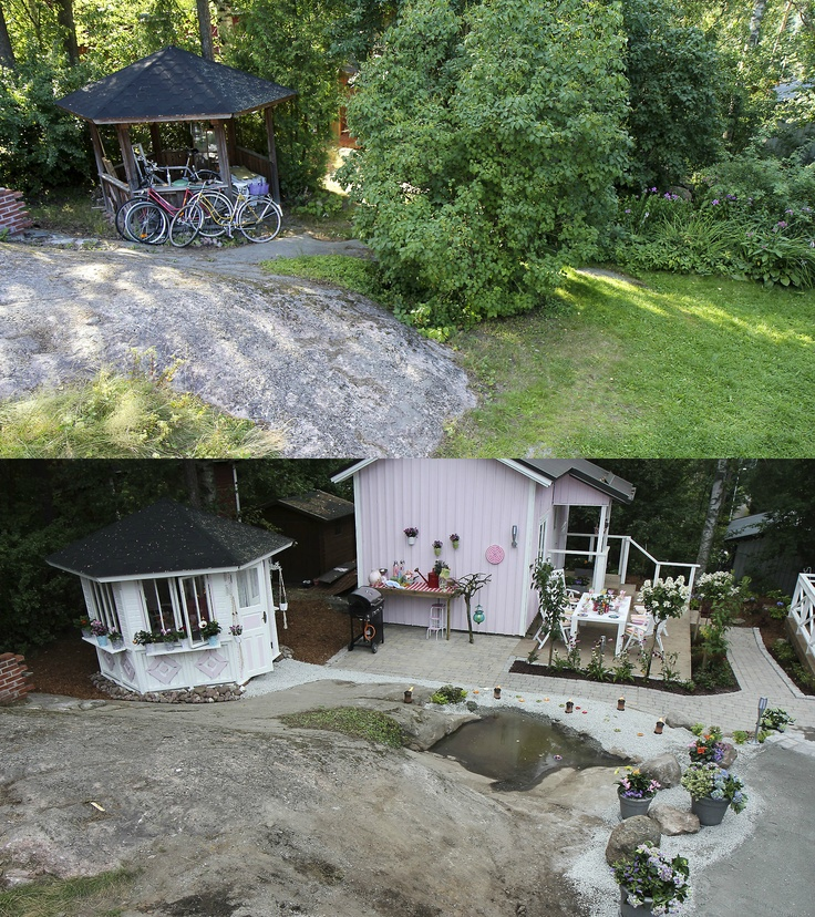 The gazebo before and after