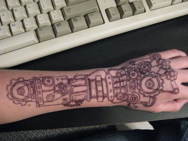 'Just' a drawing, but a great mechanical tattoo idea!