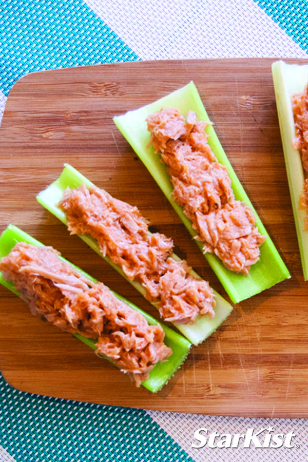 Celery stuffed with StarKist Tuna Creations® Hot Buffalo Style: the perfect pair makes a perfect snack.