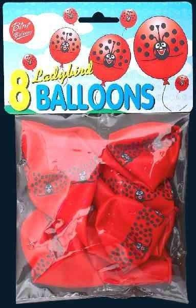 Ballon m. mariehøne pose m. 8 stk