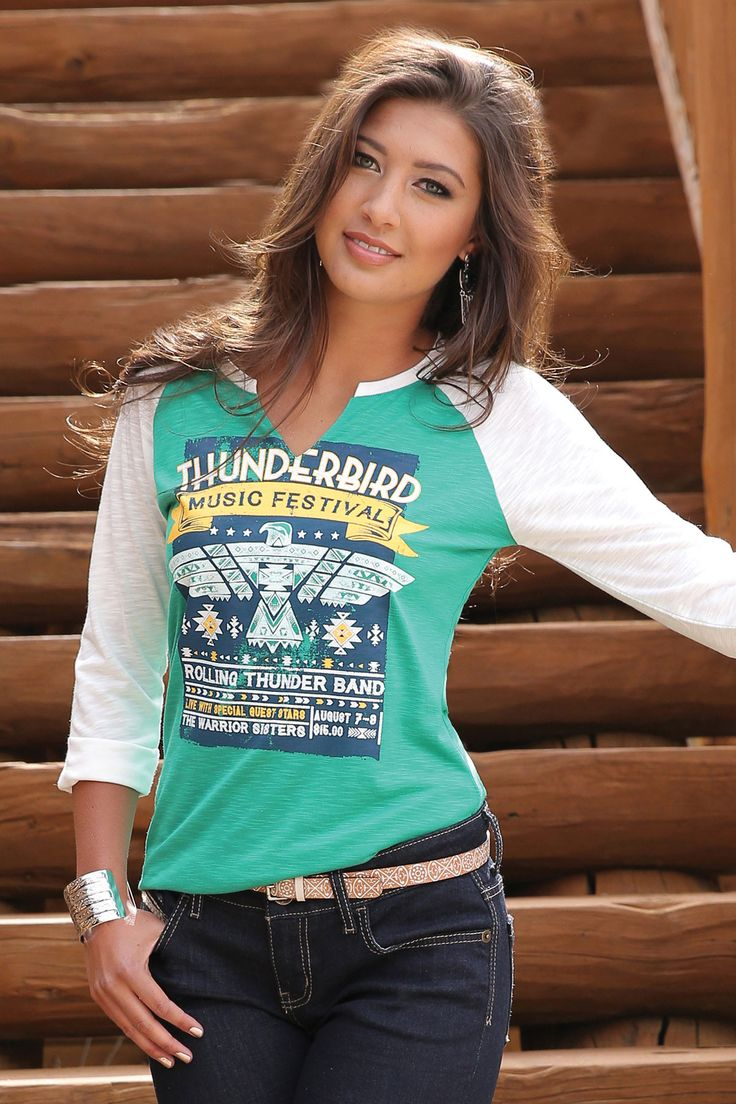Manufacturer: Cruel Girl Style#: CTK7060001 Description: A surefire favorite, this ¾ sleeve raglan tee features a green-colored body with a Thunderbird screen print. Complete with a notched neckline a
