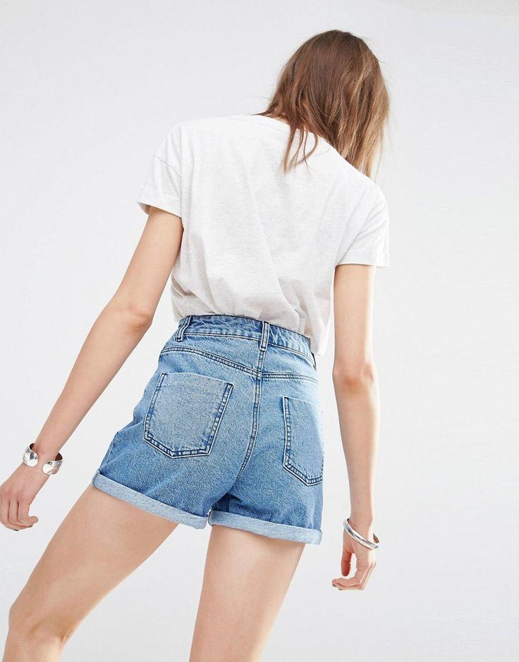 ASOS washed blue denim shorts