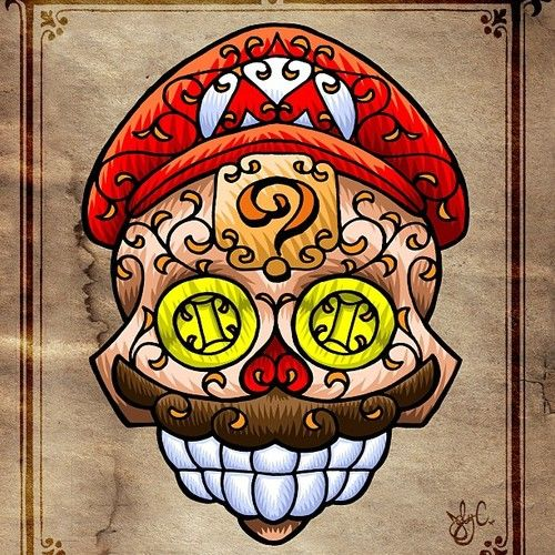 This is awesome! Mario as a sugar skull!
