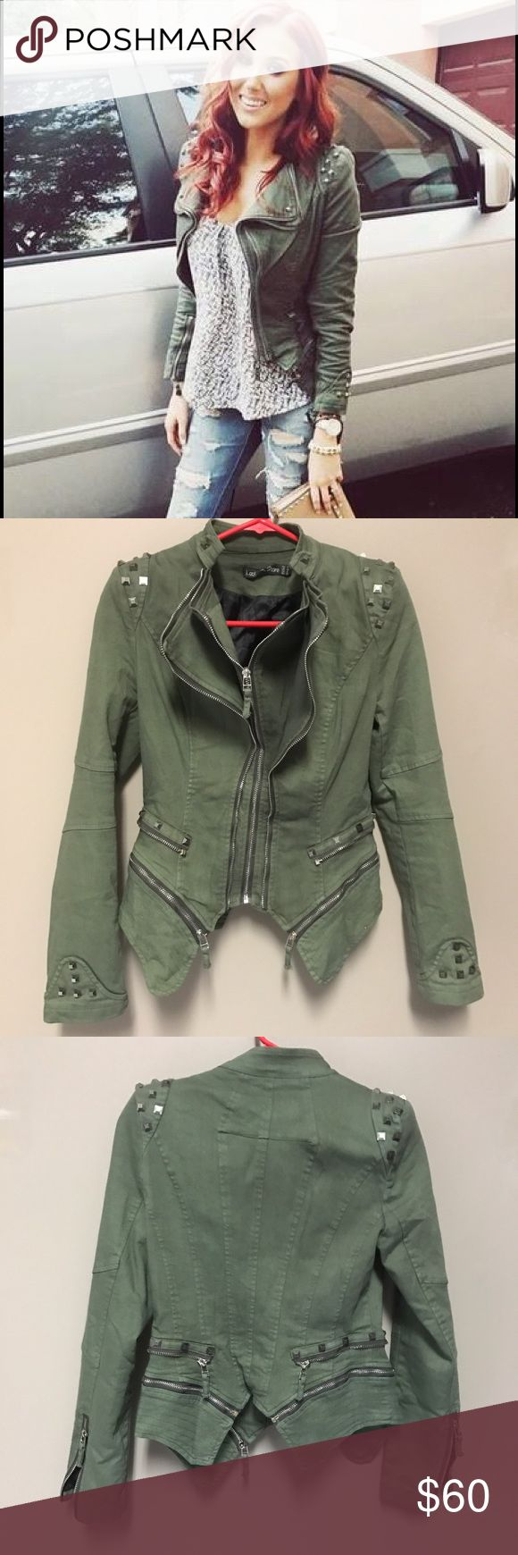 Studded Denim Blazer Jacket - size 6, green Studded Denim Blazer Jacket - size 6, green, never worn, NWOT. As seen on Jaclyn Hill. I bought this in a 6 and an 8. The 6 was too tight on my arms so I kept the 8. Lookbook Store Jackets & Coats Blazers