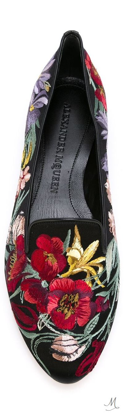 ALEXANDER MCQUEEN  floral embroidered slippers