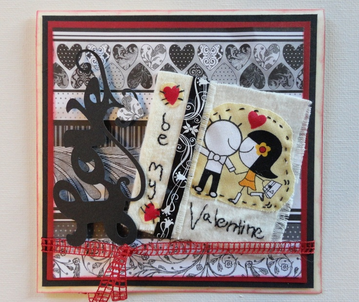 Valentine Card. Love Card. Handmade. 6 X 6. Handsewn Embellishment. Beautiful Black, White, Red Card. Awesome Card.. $10.50, via Etsy.