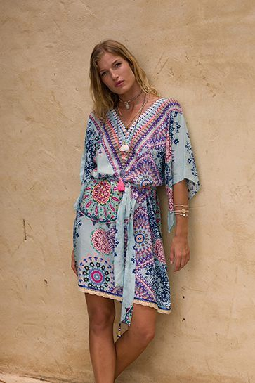 Ruby Yaya | Globetrotter Spring 2017 Printed silk kaftan dress in bold colours. #Bohemian #tribal #prints & patterns #party dress #beachstyle #relaxed