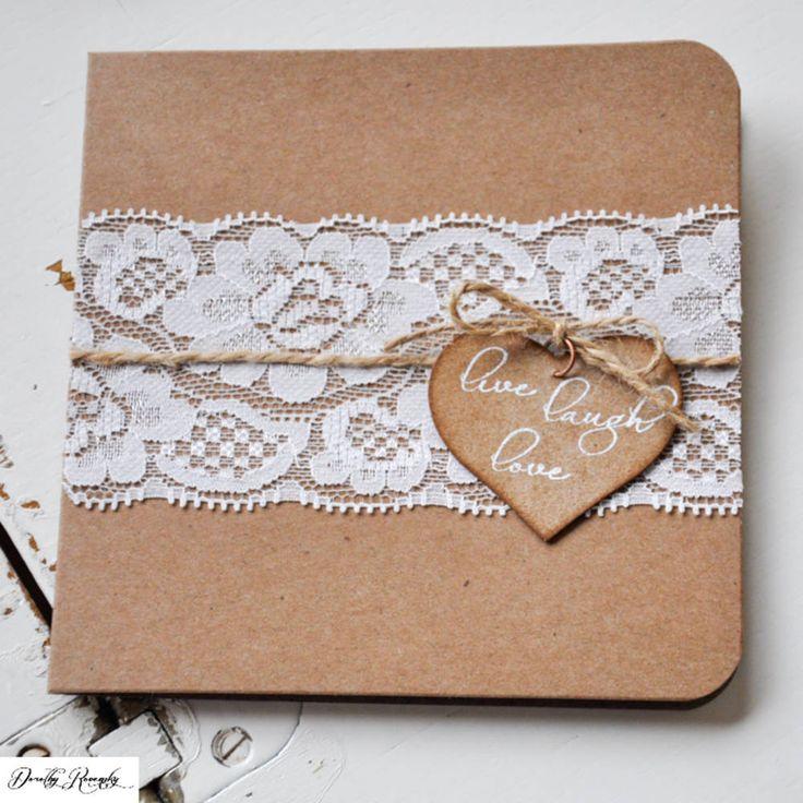 Rustikálne svadobné oznámenie - čipka