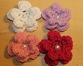 PATTERN for Crochet 2 Layered Flower Appliques with Pearl Buttons by KraftyShack on Etsy, $2.99 USD