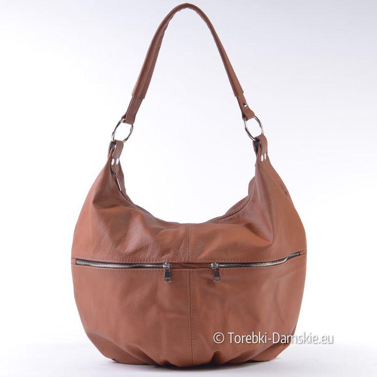 Pojemna skórzana torba damska produkcji polskiej - elegancki model w modnym koniakowym odcieniu koloru brązowego - sprawdź promocyjną cenę w naszym sklepie internetowym http://torebki-damskie.eu/skorzane/1573-torebka-ze-skory-naturalnej-braz-koniakowy.html
