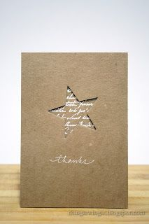 handmade thank you card ... kraft ... clean and simple ... negative space die cut star backed with white script embossed on kraft ... elegant look ...