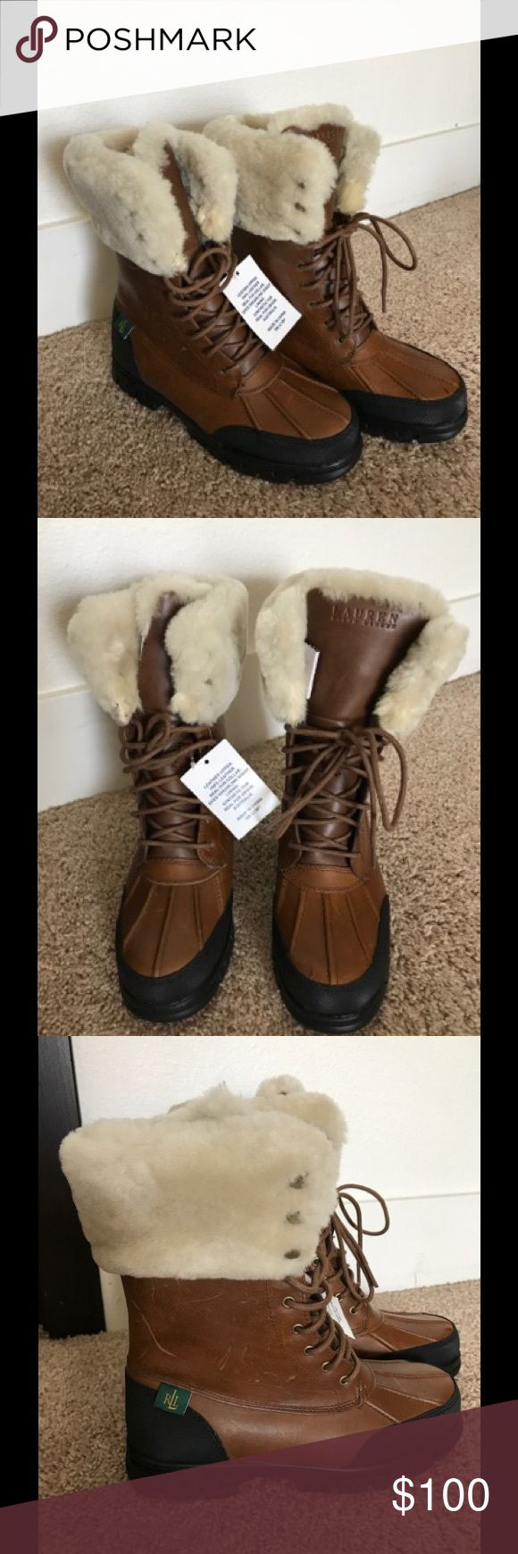 LAUREN Ralph Lauren Quinta Tan Leather Boot BRAND NEW IN BOX!! Lauren Ralph Lauren Quinta Tan Leather Winter Boot, Mid Calf with Laces, Smooth Leather upper, Dyed Genuine Sheep Shearling and Man Made Lining, Rubber Sole, Imported, Heel Height 11/4 in, Weight 1 lb 7 oz Lauren Ralph Lauren Shoes Winter & Rain Boots