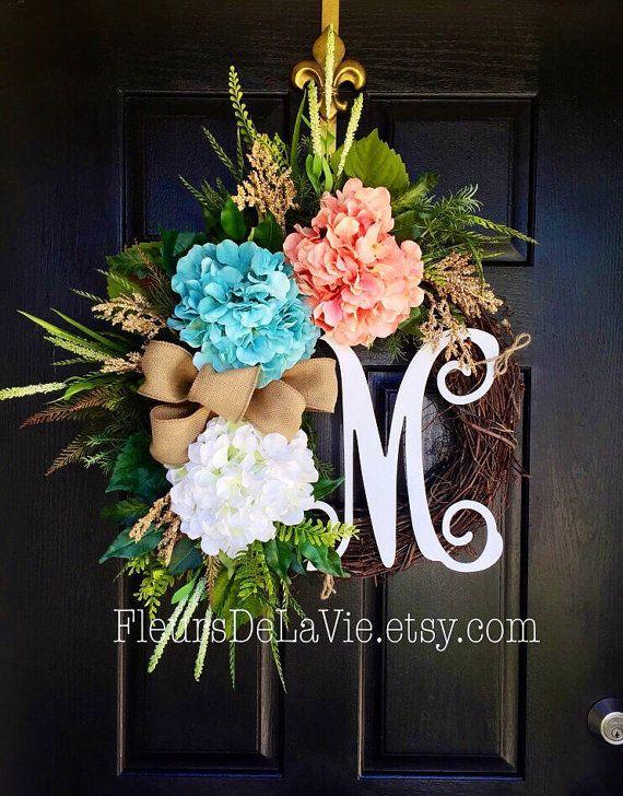 Summer Wreath for Front Door Monogram Wreaths Burlap Wreath