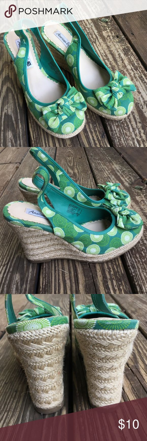 """American Eagle Green Wedges Super cute green wedges.  Very little wear.  4"""" heal.  Size 8.  SE11 American Eagle by Payless Shoes Wedges"""