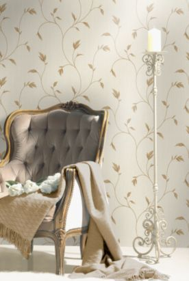 Lucia Wallpaper in a Neutral colour with a Vinyl finish by Opus from B&Q - feature wallpaper in sitting room / feature wall in master bedroom / all of master bedroom