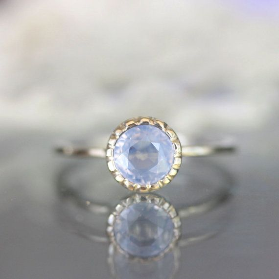 Sky Blue Sapphire In 14K Striking Frost White Gold Engagement Ring - Ready To Ship on Etsy, $480.00