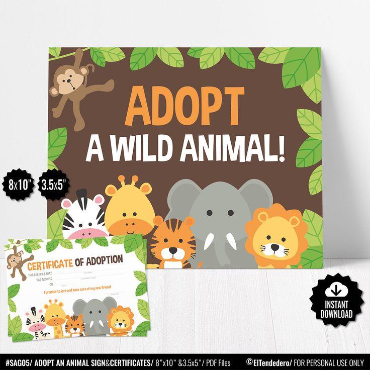 Adopt an Animal Sign, Adoption Certificate. Safari Kids Party Games. Jungle Birt… – SAFARI