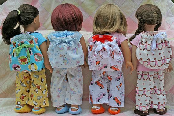 American Girl Doll  Slumber Party 4pc Rainbow by TallulahSophieToo, $22.00