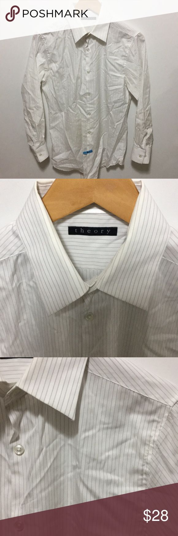 Theory Men's 15R White Button Down Dress Shirt Theory men's size 15 regular white with stripes button down dress shirt. Some chipped buttons from dry cleaning. Overall, in very good condition. Dry clean only. Theory Shirts Dress Shirts
