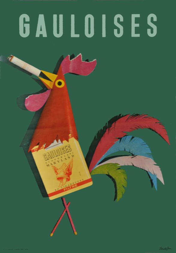 Gauloises cigarettes (1964).The legendary Swiss graphic designer Donald Brun (1909-1999) was a master of the Object Poster (where the image is paramount is selling the product). Brun's work is marked by humor and whimsy, bright bold colors and shapes, a wide variety of graphic styles, and animals.