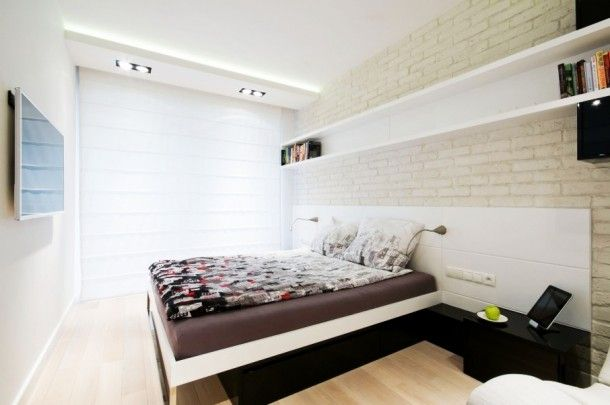 Apartment - Fancy Bedroom Design Ideas Inside The White Water Apartment With Innovative Under Bed Storage Ideas And Darkwood Sideboard: Styl...