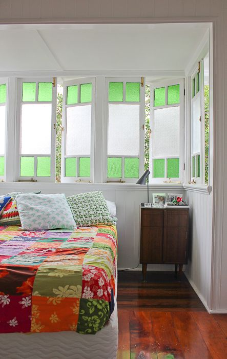 Patchwork throw. Green glass in 1930s queensland home.