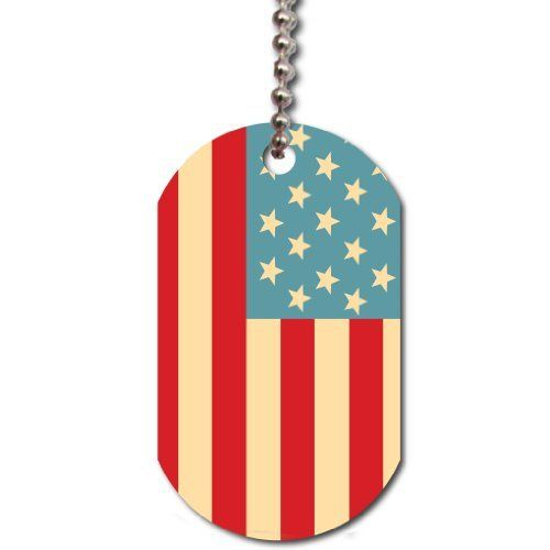 "American Flag Dog Tag - Support America Today! by Victory. $9.50. White aluminum, glossy finish. Image size on one side: 1.125"" x 1.875"". Check out our other Dog Tags-- search Victorystore Dog Tags. Bead chain is 30"" long, includes jump ring. US Flag Design. You won't find this unique product anywhere else! Includes design of the United States Flag We have many more unique designs and products to choose from. Check out our other Dogtag products!"