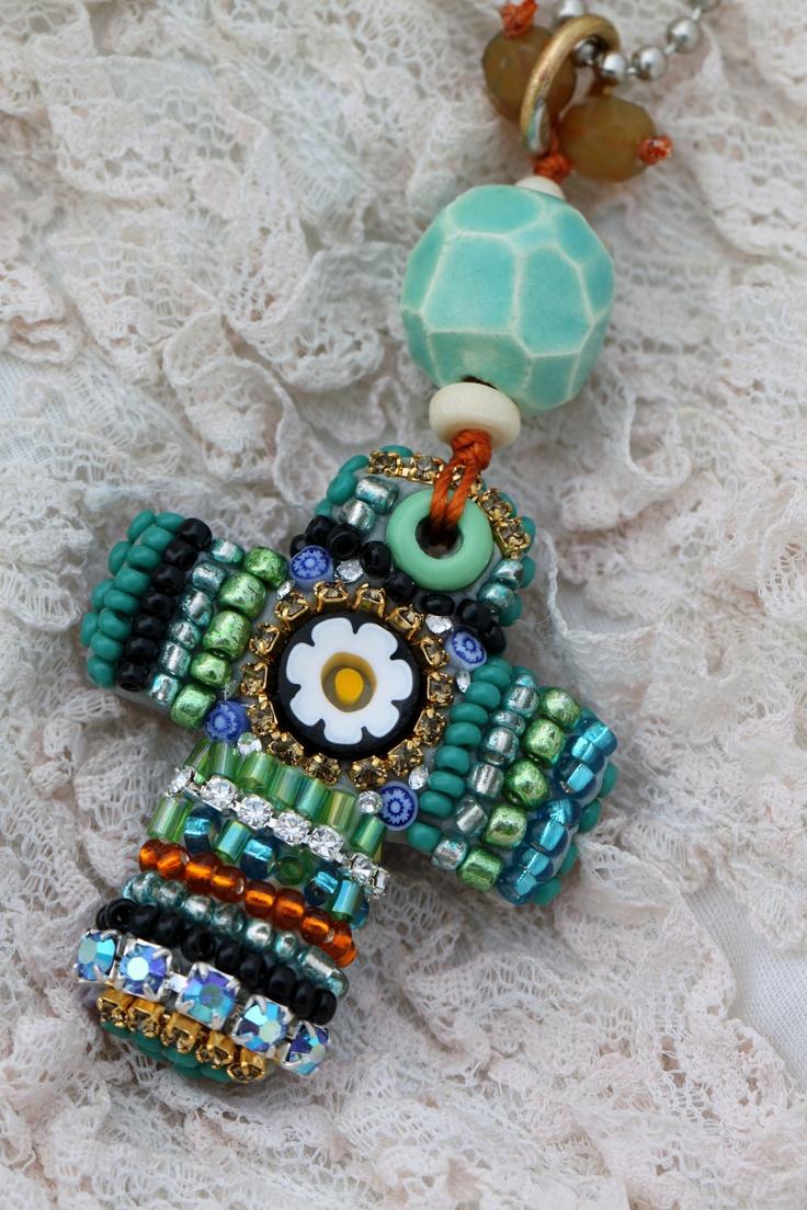 Beautiful Bead Mosaic Cross