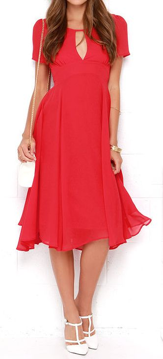 Red chiffon midi dress