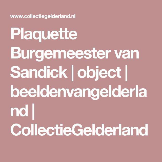 Plaquette Burgemeester van Sandick   object   beeldenvangelderland   CollectieGelderland